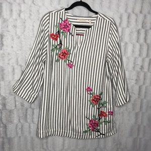 Soft Surroundings Striped Embroidered Popover Top